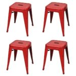 Stacking Stools 4 pcs Red Steel