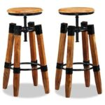 Bar Stools 2 pcs Brown Solid Mango Wood