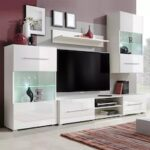 Wall-Mounted TV Stand With LED Light 5Pcs Wall Cabinet Standing Cabinet Wall Shelf TV Wall Decoration Storage Shelf