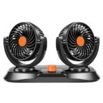 R-8035 Car Double-headed Fan for Van Large Truck Third Gear Adjustment 360 Degree Rotation