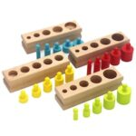 Children Early Education Color Cylindrical Volume Block Socket Puzzles Toy Kit Kindergarten Fine Motor Training Toy Wooden Montessori Teaching Aids