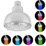 Led Top Spray Temperature Control / Colorful Self Color Luminous Round Shower Head 8010-a1