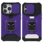 Shock-Absorbed Hybrid Phone Case Cover Shell with Card Holder and Removable Lens Shield for iPhone 13 Pro 6.1 inch – Purple