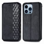 Imprinting Rhombus Auto-absorbed Leather Phone Case Wallet Stand Shell for iPhone 13 Pro Max 6.7 inch – Black