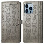 Cat Dog Pattern Imprint Scratch-Resistant Anti-Drop Dual-Sided Magnetic Clasp PU Leather Wallet Phone Cover with Stand for iPhone 13 Pro 6.1 inch – Grey