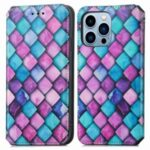 CASENEO 001 Series Colorful Pattern Printing Lightweight Durable Auto-absorbed Wallet Leather Phone Case with Stand for iPhone 13 Pro 6.1 inch – Purple Scale