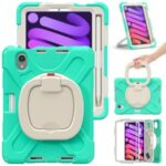 PC+Silicone Hybrid Case Tablet Cover Case with 360 Degree Swivel Kickstand Hand Band + Shoulder Strap for iPad mini (2021) – Mint Green