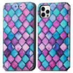 CASENEO 001 Series Colorful Pattern Printing Anti-Shock Auto-absorbed Scratch-resistant Wallet Leather Phone Case with Stand for iPhone 11 Pro Max 6.5 inch – Purple Scale