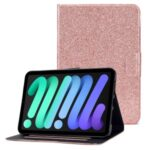 Glittering Powder Design Full Protection Stand PU Leather Cover with Card Slots for iPad mini (2021) – Pink