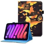 Pattern Printing Stitching Line Leather Tablet Stand Case Protective Cover with Card Slots for iPad mini (2021) – Gold Butterflies