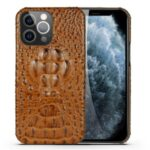3D Crocodile Head Genuine Leather Coated PC Anti-Scratch Protective Back Case for iPhone 13 Pro Max 6.7 inch – Brown