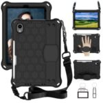 Honeycomb Texture EVA Tablet Shell with Shoulder Strap for iPad mini (2021) – All Black