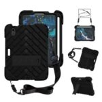 Rhombus Surface PC + TPU Hybrid Tablet Case Kickstand Protective Cover with Lanyard for iPad mini (2021) – Black