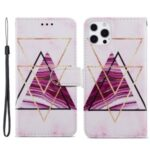 Magnetic Clasp Pattern Printing Leather Phone Stand Case Cover with Wallet Design for iPhone 13 Pro 6.1 inch – Tri-color Marble