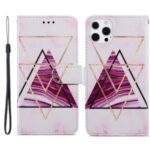 Dual-Sided Magnetic Clasp Pattern Printing Leather Phone Stand Case Anti-Drop Cover with Wallet Design for iPhone 13 Pro Max 6.7 inch – Tri-color Marble
