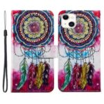 Pattern Printing Wallet Design Dual-Sided Magnetic Clasp Leather Phone Stand Case Well-Protected Cover for iPhone 13 6.1 inch – Dreamcatcher