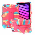 T-shaped Kickstand Design Anti-fall PC + Silicone Tablet Case Protector for iPad mini (2021) – Camouflage/Rose