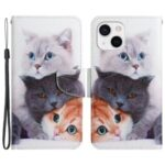 Pattern Printing Cross Texture PU Leather Phone Case Stand Wallet Protective Cover for iPhone 13 6.1 inch – Three Cats