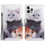 Pattern Printing Full Protection PU Leather Phone Stand Case Wallet Cover with Wrist Strap for iPhone 13 Pro 6.1 inch – Three Cats