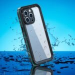 REDPEPPER Dot+ Series Anti-Fall Transparent Back IP68 Waterproof IP6X Dustproof Hybrid Phone Case for iPhone 13 Pro 6.1 inch – Blue