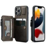 CASEME C20 Series For iPhone 13 Pro 6.1 inch Zipper Pocket Wallet Phone Cover Card Slots Quality PU Leather and TPU Case with Kickstand – Coffee