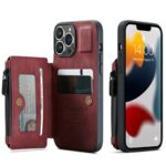 CASEME C20 Series For iPhone 13 Pro 6.1 inch Zipper Pocket Wallet Phone Cover Card Slots Quality PU Leather and TPU Case with Kickstand – Red