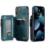CASEME C20 Series Shockproof Anti-theft Zipper Pocket Wallet Design PU Leather and TPU Back Cover Phone Case for iPhone 13 6.1 inch – Blue