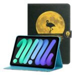 Magnetic Clasp Stylish Pattern Printing Shockproof Card Holder Design Leather Stand Case for iPad mini (2021) – Flamingo