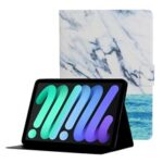 Stylish Pattern Printing Card Holder Design Anti-Fall Magnetic Clasp Leather Case with Stand for iPad mini (2021) – Ocean