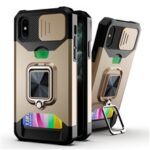 Sliding Camera Cover Card Slot Design Built-in Ring Holder Kickstand Phone Case for iPhone XS 5.8 inch – Gold