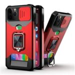 Sliding Camera Cover Design Anti-Drop Ring Holder Kickstand Phone Case with Card Slot for iPhone 11 Pro Max 6.5 inch – Red