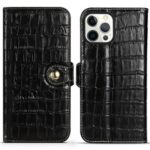 Crocodile Texture Viewing Stand Genuine Leather Wallet Case with Magnet Snap for iPhone 13 Pro 6.1 inch – Black