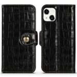 Crocodile Texture Cowhide Genuine Leather Wallet Stand Case Anti-Fall TPU Inner Phone Cover for iPhone 13 mini 5.4 inch – Black