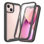 Full Coverage TPU + PC Shockproof Phone Case Shell with PET Screen Protector for iPhone 13 6.1 inch – Black