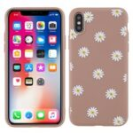 Matte Slim Soft Flexible TPU Daisy Pattern Printing Protective Cover for iPhone XS 5.8 inch – Brown