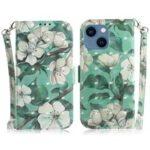 Light Spot Decor Pattern Printing Wallet Stand Leather Case Phone Protector for iPhone 13 6.1 inch – White Flower