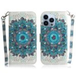 Magnetic Clasp Pattern Printing Wallet Stand Leather Phone Case with Light Spot Decor for iPhone 13 Pro Max 6.7 inch – Mandala Flower