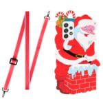 Special-Shaped Santa/Christmas Deer TPU + Silicone Phone Protective Cover Case with Adjustable Long Lanyard for Samsung Galaxy A72 4G/5G – Santa