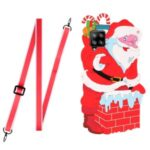 TPU + Silicone Santa/Christmas Reindeer Pattern Phone Cover Case with Long Lanyard for Samsung Galaxy A12 – Santa
