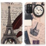 Stand Feature Pattern Printing PU Leather Wallet Flip Magnetic Protective Cover for Samsung Galaxy A03s (164.2 x 75.9 x 9.1mm) – Eiffel Tower and Feather
