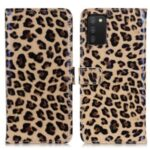 Leopard Texture PU Leather Wallet Stand Flip Protective Phone Case with Magnetic Closure for Samsung Galaxy A03s (164.2 x 75.9 x 9.1mm)
