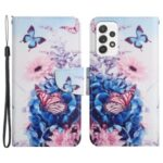 Pattern Printing Shockproof Wallet Stand Leather Phone Case Shell with Strap for Samsung Galaxy A52 4G/5G – Purple Butterfly