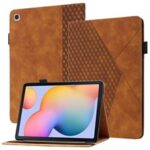 Stylish Rhombus Pattern Skin-touch Feeling Auto-absorbed Leather Tablet Protective Case Card Slots Cover for Samsung Galaxy Tab S6 Lite/P610/T615 – Brown