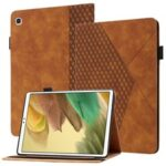 Card Slots Design Full Protective Skin-Touch PU Leather Tablet Protective Cover Case with Rhombus Imprinting and Anti-Slip Strap for Samsung Galaxy Tab A7 Lite 8.7-inch T220/T225 – Brown