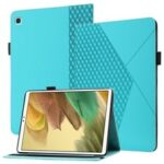 Card Slots Design Full Protective Skin-Touch PU Leather Tablet Protective Cover Case with Rhombus Imprinting and Anti-Slip Strap for Samsung Galaxy Tab A7 Lite 8.7-inch T220/T225 – Lake Blue