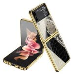 GKK Texture Color Splicing Pattern Printing PC + Tempered Glass Rear Screen Protector Phone Case Cover for Samsung Galaxy Z Flip3 5G – Style 1