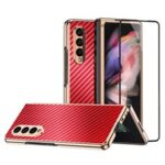 Vacuum Plating Frame Carbon Fiber Texture PU Leather Coated PC Case with Screen Film for Samsung Galaxy Z Fold3 5G – Red