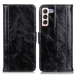 Drop-Resistant Crazy Horse Texture Split Leather Stand Phone Cover Wallet Shell for Samsung Galaxy S22 Plus – Black