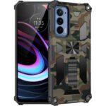 Anti-drop Built-in Kickstand Camouflage Design Protective Phone Back Shell for Motorola Edge (2021) – Army Green