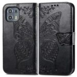 Imprinted Butterfly Flower Pattern Leather Wallet Stand Phone Cover Case for Motorola Edge 20 Lite – Black
